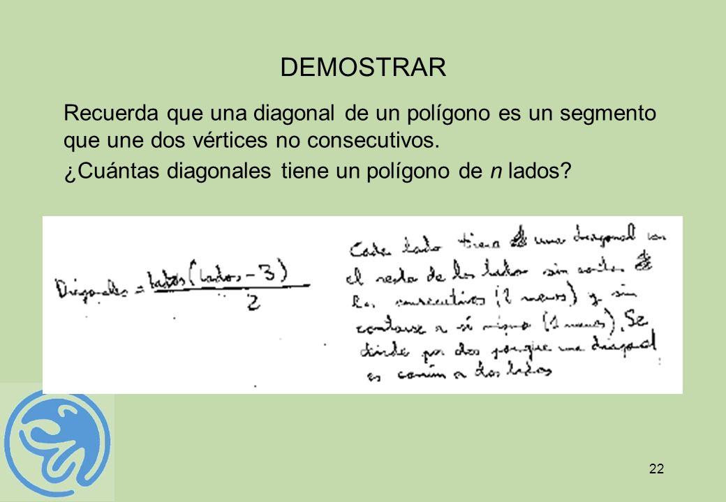 22 DEMOSTRAR Recuerda que una diagonal de un polígono es un segmento que une dos vértices no consecutivos. ¿Cuántas diagonales tiene un polígono de n
