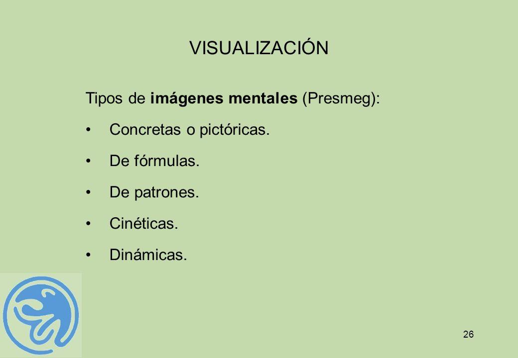 26 VISUALIZACIÓN Tipos de imágenes mentales (Presmeg): Concretas o pictóricas. De fórmulas. De patrones. Cinéticas. Dinámicas.