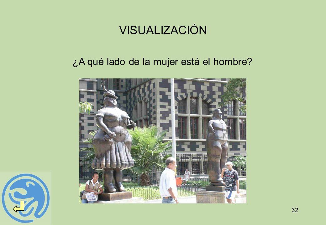 32 VISUALIZACIÓN ¿A qué lado de la mujer está el hombre?
