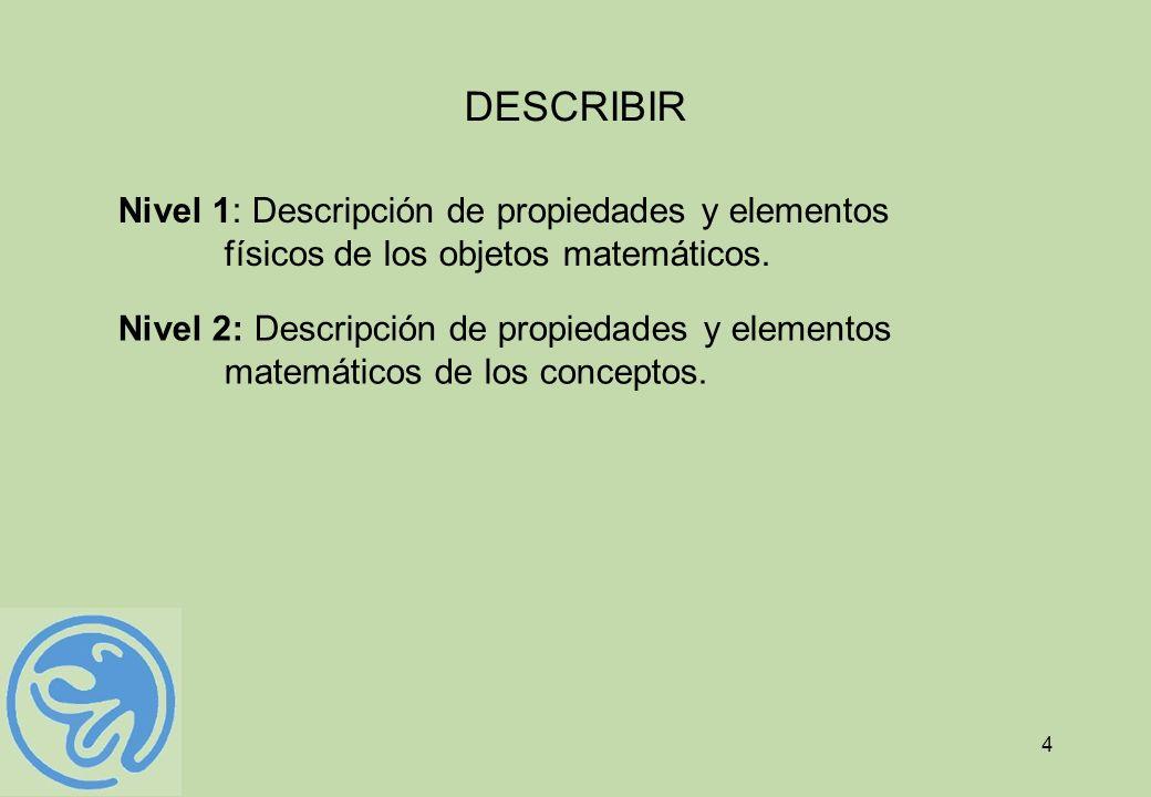4 DESCRIBIR Nivel 1: Descripción de propiedades y elementos físicos de los objetos matemáticos. Nivel 2: Descripción de propiedades y elementos matemá