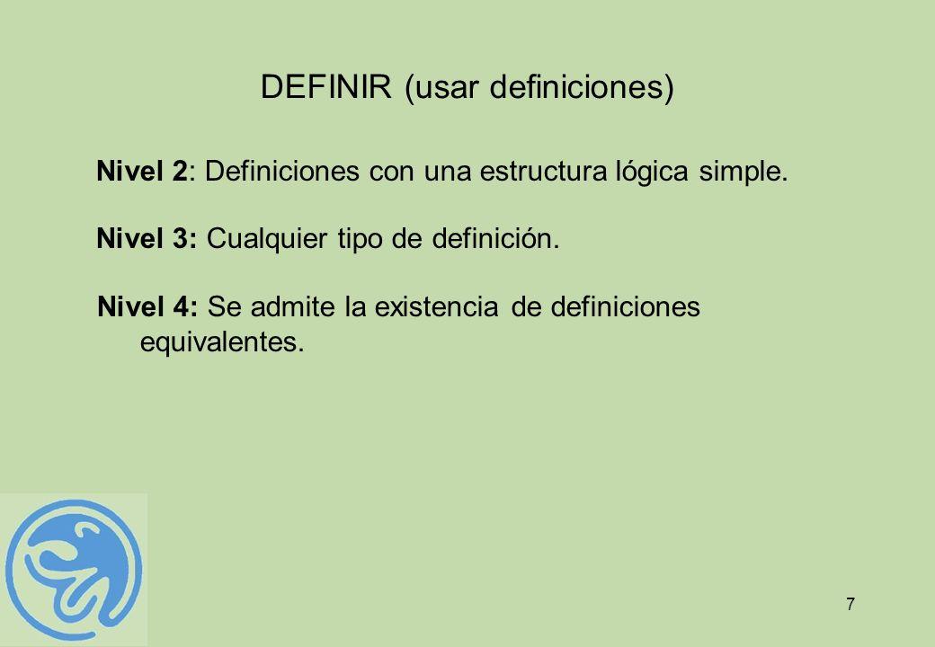 7 DEFINIR (usar definiciones) Nivel 2: Definiciones con una estructura lógica simple. Nivel 3: Cualquier tipo de definición. Nivel 4: Se admite la exi