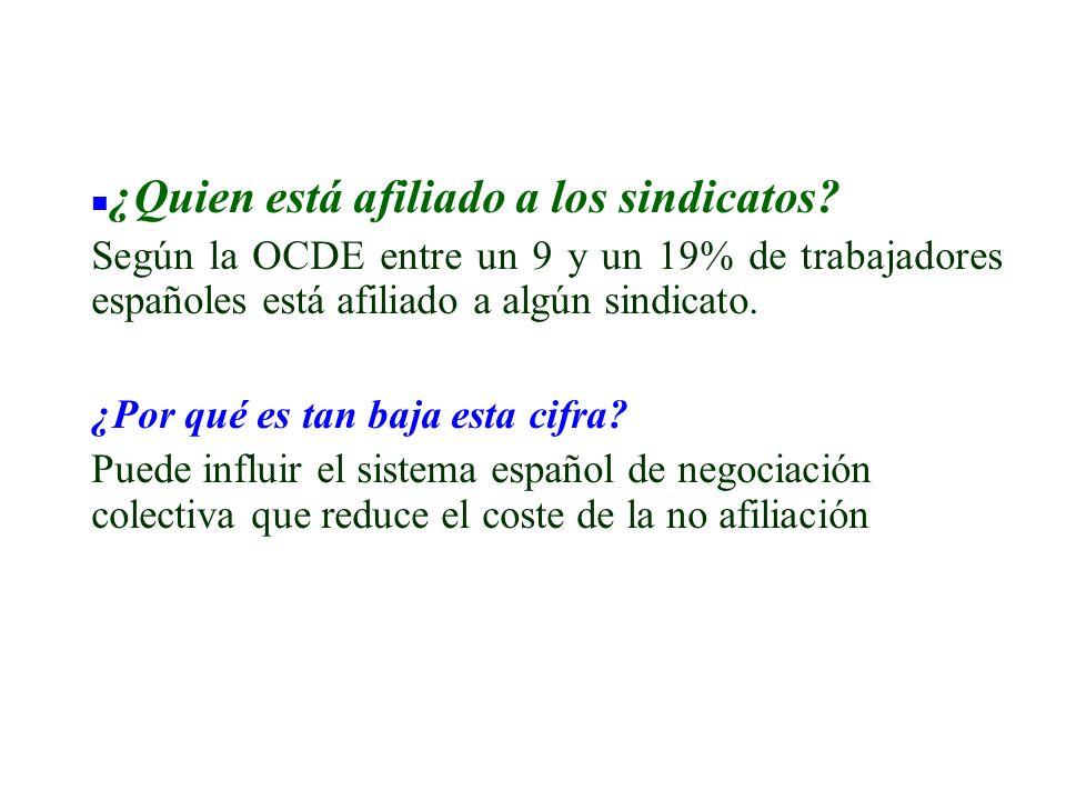 n ¿Quien está afiliado a los sindicatos? Según la OCDE entre un 9 y un 19% de trabajadores españoles está afiliado a algún sindicato. ¿Por qué es tan