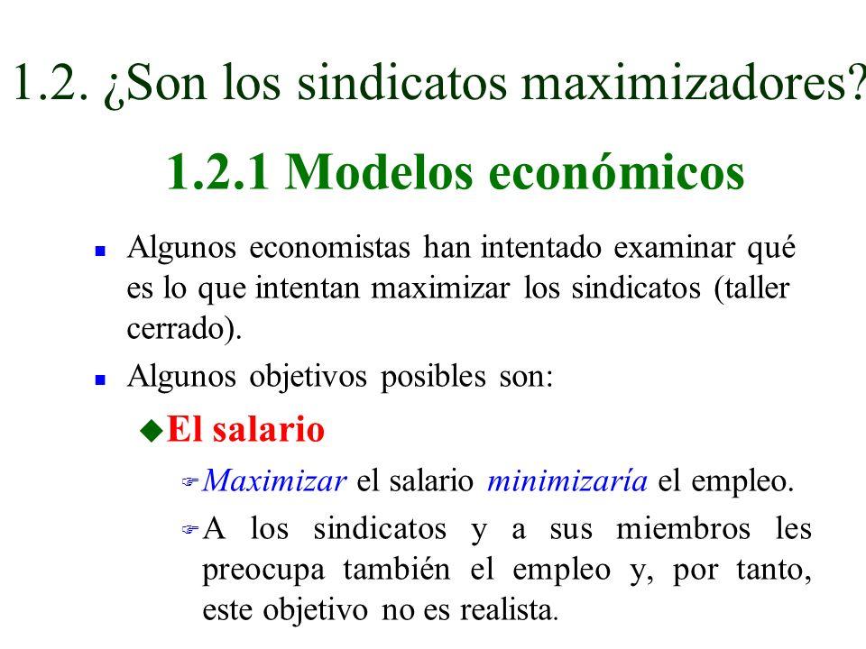 n Algunos economistas han intentado examinar qué es lo que intentan maximizar los sindicatos (taller cerrado). n Algunos objetivos posibles son: u El