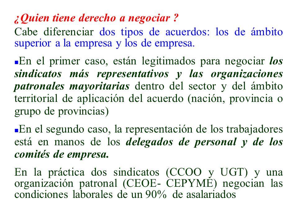 ¿Quien tiene derecho a negociar ? Cabe diferenciar dos tipos de acuerdos: los de ámbito superior a la empresa y los de empresa. n En el primer caso, e