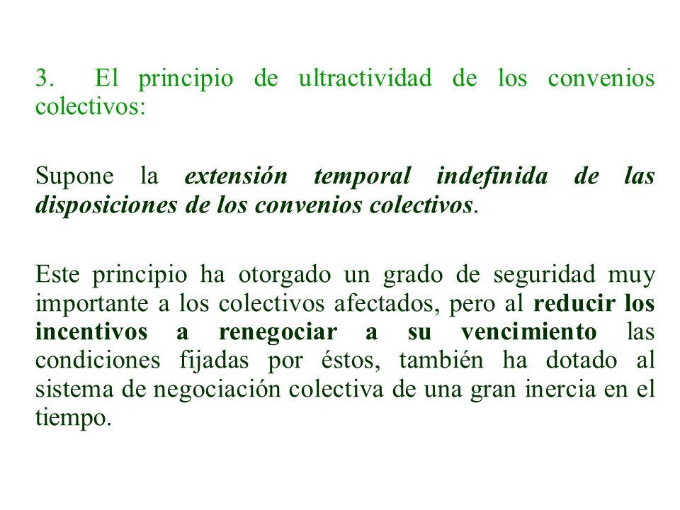 3. El principio de ultractividad de los convenios colectivos: Supone la extensión temporal indefinida de las disposiciones de los convenios colectivos