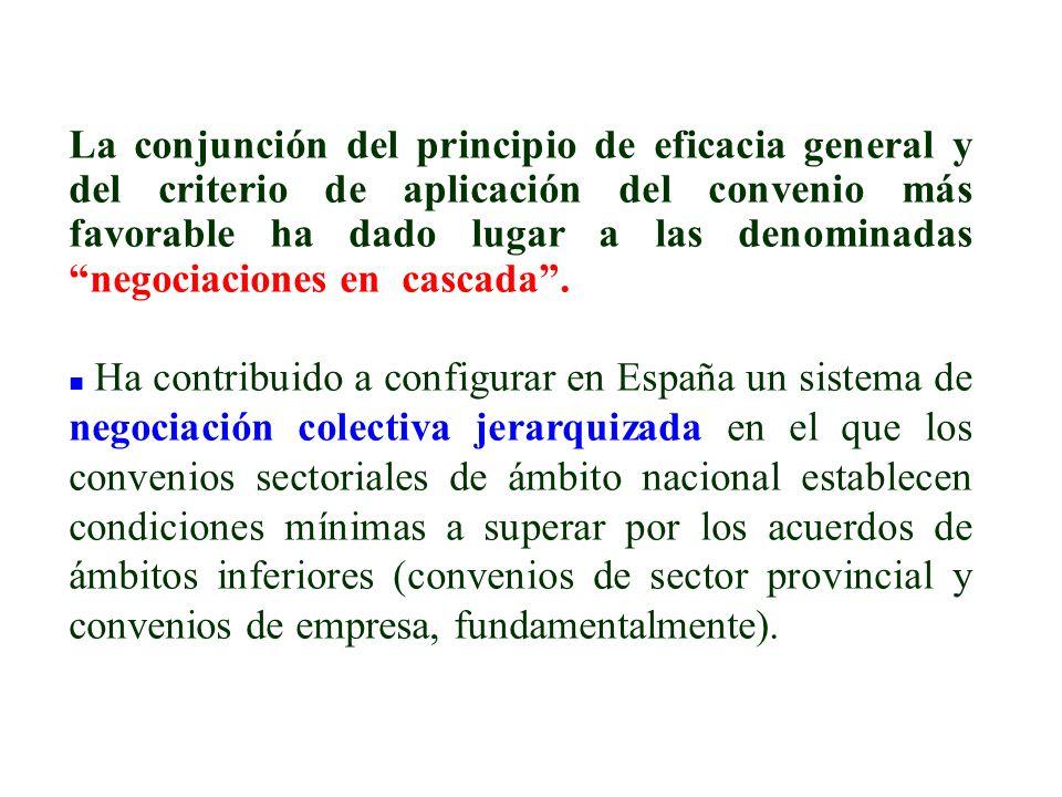 La conjunción del principio de eficacia general y del criterio de aplicación del convenio más favorable ha dado lugar a las denominadas negociaciones