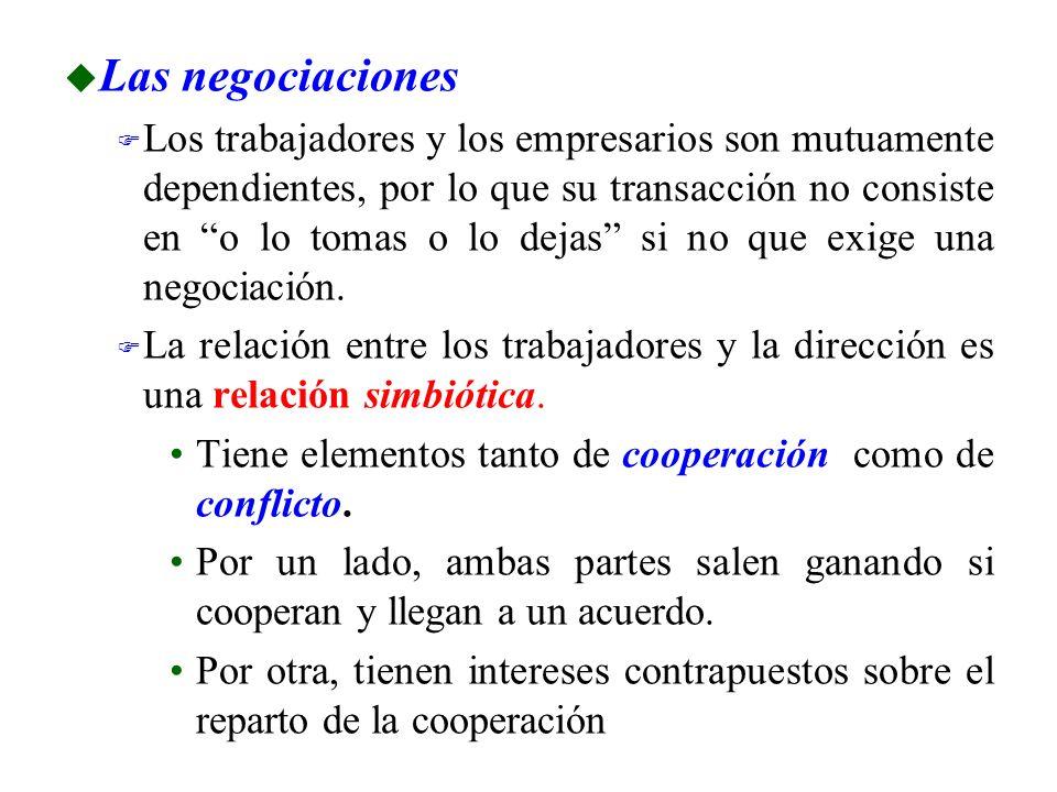 u Las negociaciones F Los trabajadores y los empresarios son mutuamente dependientes, por lo que su transacción no consiste en o lo tomas o lo dejas s