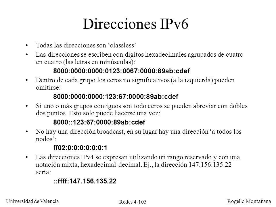 Redes 4-103 Universidad de Valencia Rogelio Montañana Direcciones IPv6 Todas las direcciones son classless Las direcciones se escriben con dígitos hex