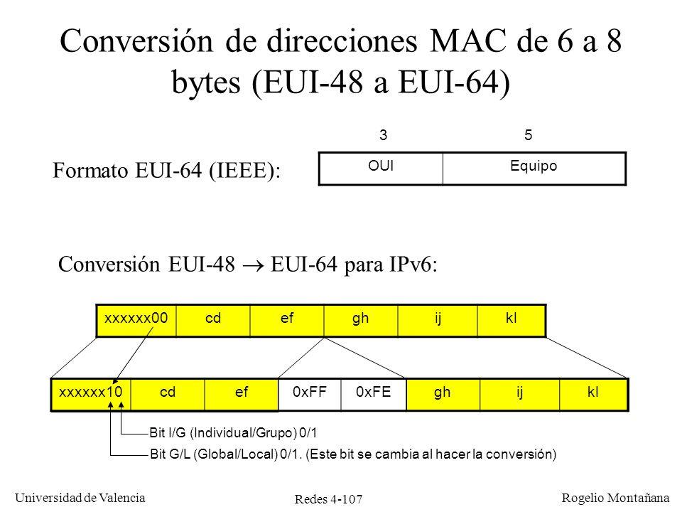 Redes 4-107 Universidad de Valencia Rogelio Montañana Conversión de direcciones MAC de 6 a 8 bytes (EUI-48 a EUI-64) OUIEquipo 35 Conversión EUI-48 EU