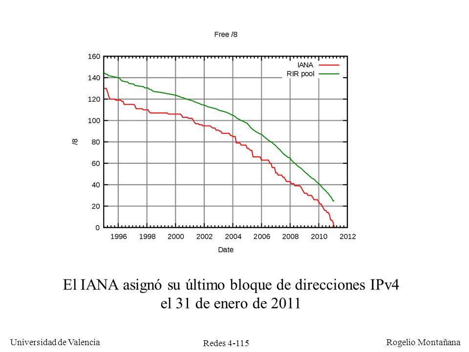 Redes 4-115 Universidad de Valencia Rogelio Montañana El IANA asignó su último bloque de direcciones IPv4 el 31 de enero de 2011
