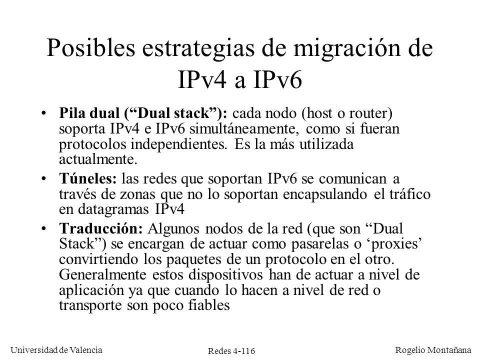 Redes 4-116 Universidad de Valencia Rogelio Montañana Posibles estrategias de migración de IPv4 a IPv6 Pila dual (Dual stack): cada nodo (host o route