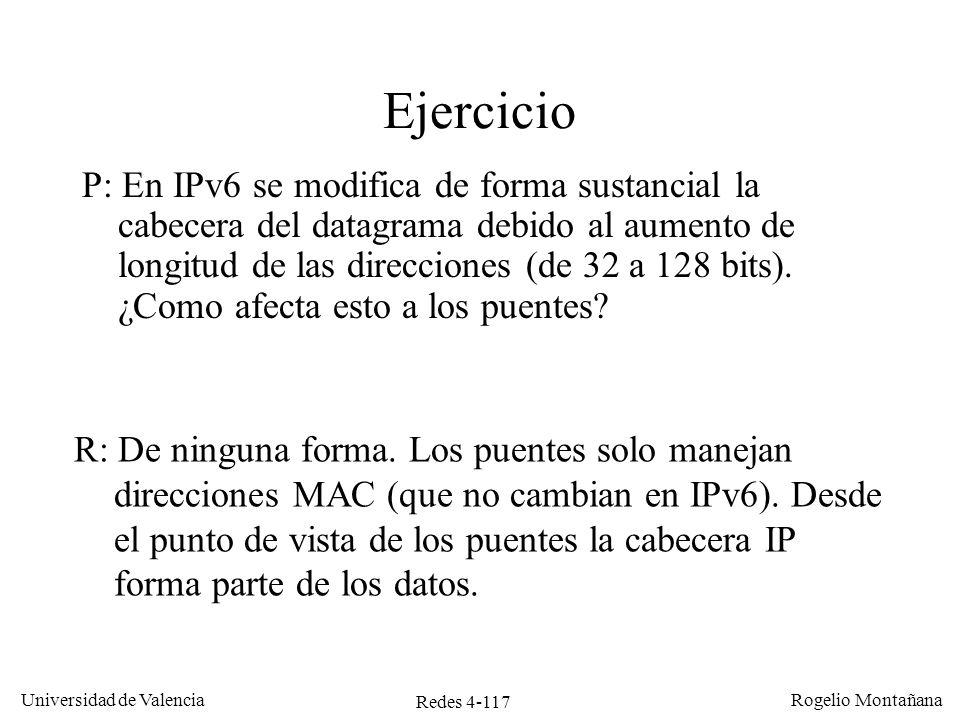 Redes 4-117 Universidad de Valencia Rogelio Montañana Ejercicio P: En IPv6 se modifica de forma sustancial la cabecera del datagrama debido al aumento