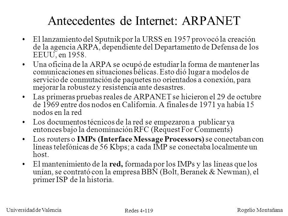 Redes 4-119 Universidad de Valencia Rogelio Montañana Antecedentes de Internet: ARPANET El lanzamiento del Sputnik por la URSS en 1957 provocó la crea