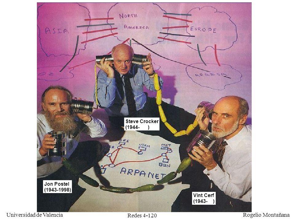 Redes 4-120 Universidad de Valencia Rogelio Montañana Jon Postel (1943-1998) Vint Cerf (1943- ) Steve Crocker (1944- )