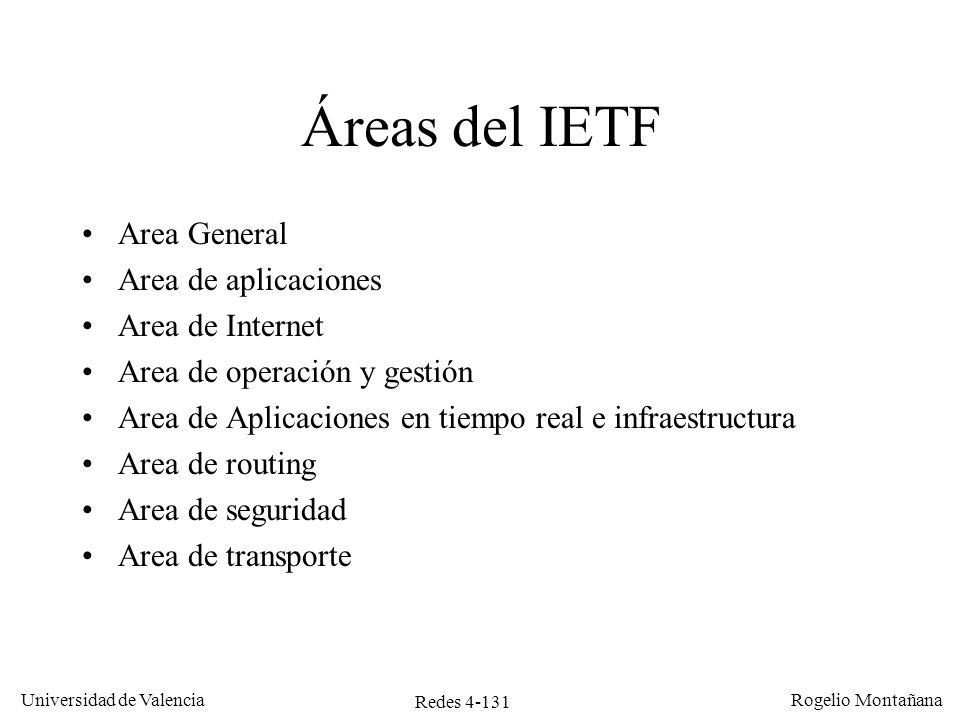 Redes 4-131 Universidad de Valencia Rogelio Montañana Áreas del IETF Area General Area de aplicaciones Area de Internet Area de operación y gestión Ar