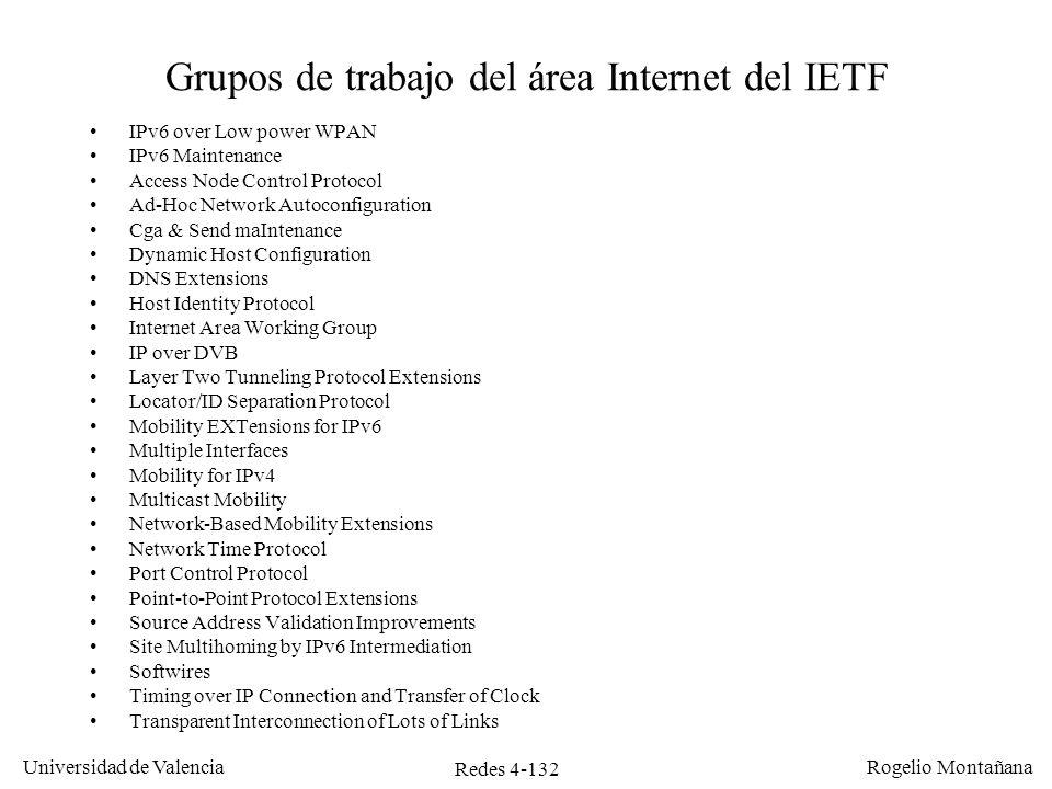 Redes 4-132 Universidad de Valencia Rogelio Montañana Grupos de trabajo del área Internet del IETF IPv6 over Low power WPAN IPv6 Maintenance Access No
