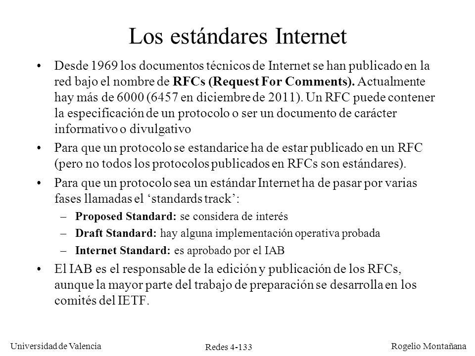 Redes 4-133 Universidad de Valencia Rogelio Montañana Los estándares Internet Desde 1969 los documentos técnicos de Internet se han publicado en la re