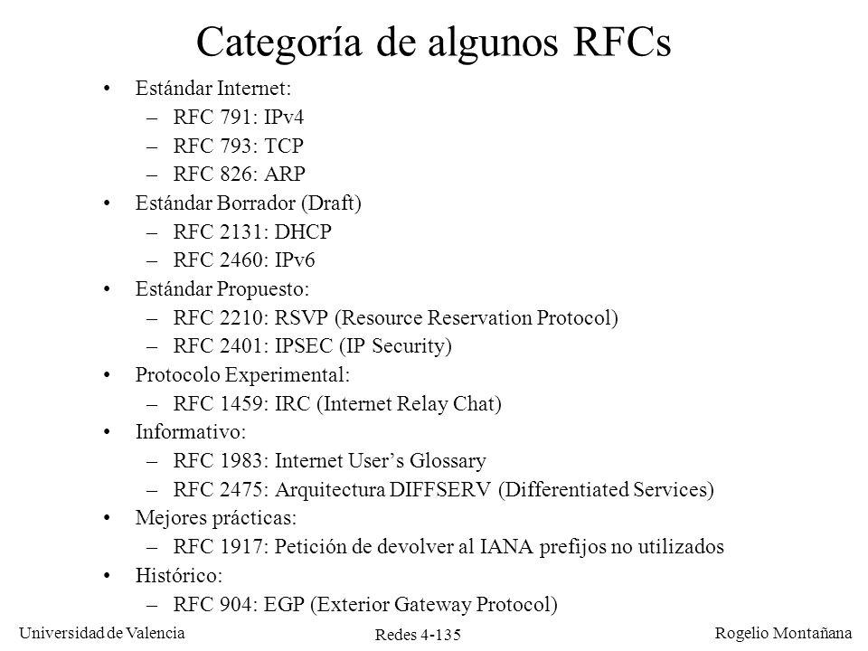 Redes 4-135 Universidad de Valencia Rogelio Montañana Categoría de algunos RFCs Estándar Internet: –RFC 791: IPv4 –RFC 793: TCP –RFC 826: ARP Estándar