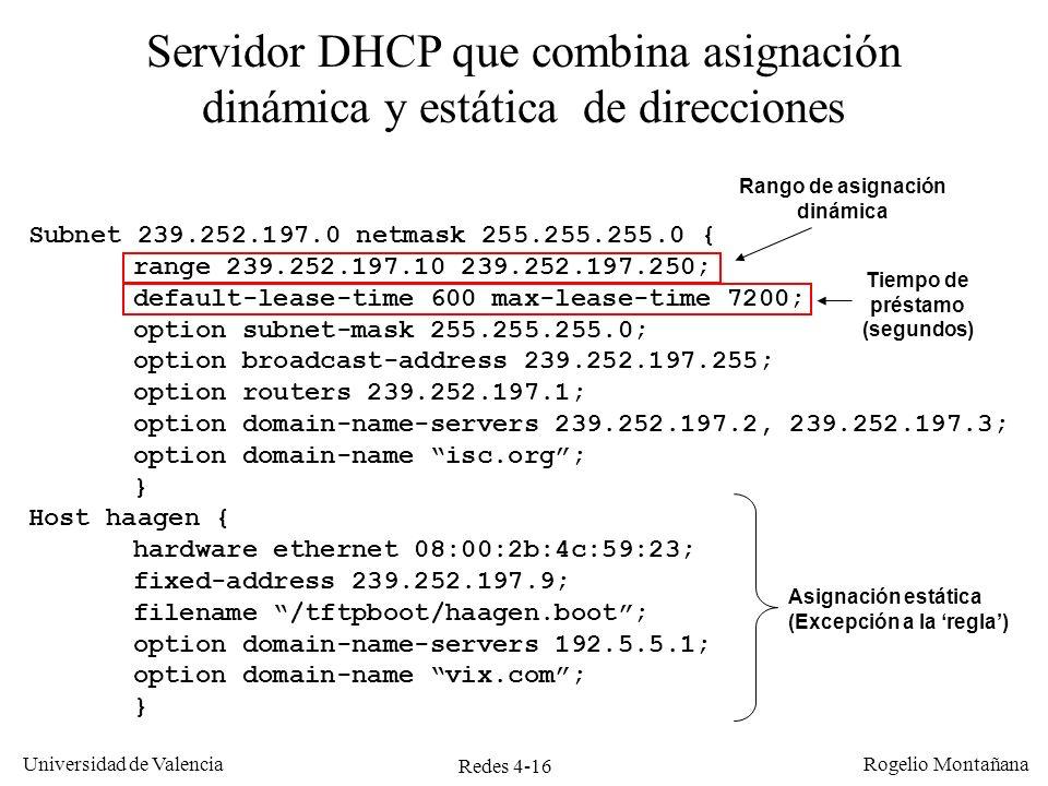 Redes 4-16 Universidad de Valencia Rogelio Montañana Subnet 239.252.197.0 netmask 255.255.255.0 { range 239.252.197.10 239.252.197.250; default-lease-