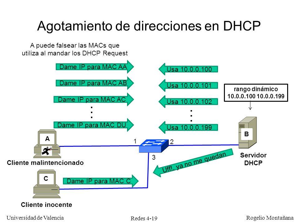 Redes 4-19 Universidad de Valencia Rogelio Montañana Agotamiento de direcciones en DHCP 1 2 A rango dinámico 10.0.0.100 10.0.0.199 B Dame IP para MAC