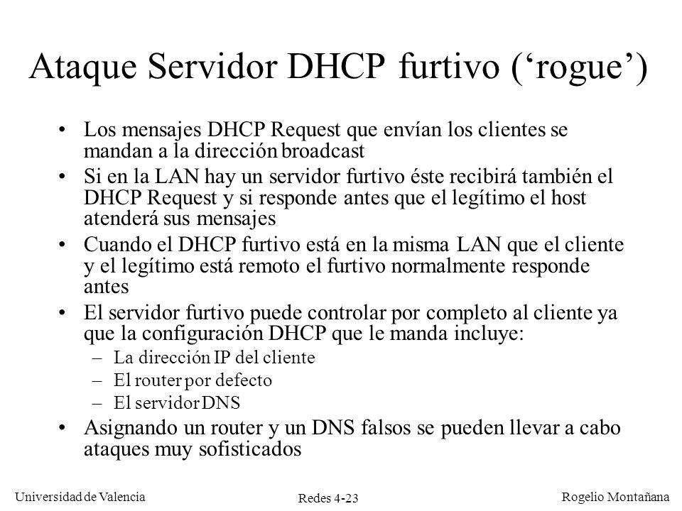 Redes 4-23 Universidad de Valencia Rogelio Montañana Ataque Servidor DHCP furtivo (rogue) Los mensajes DHCP Request que envían los clientes se mandan