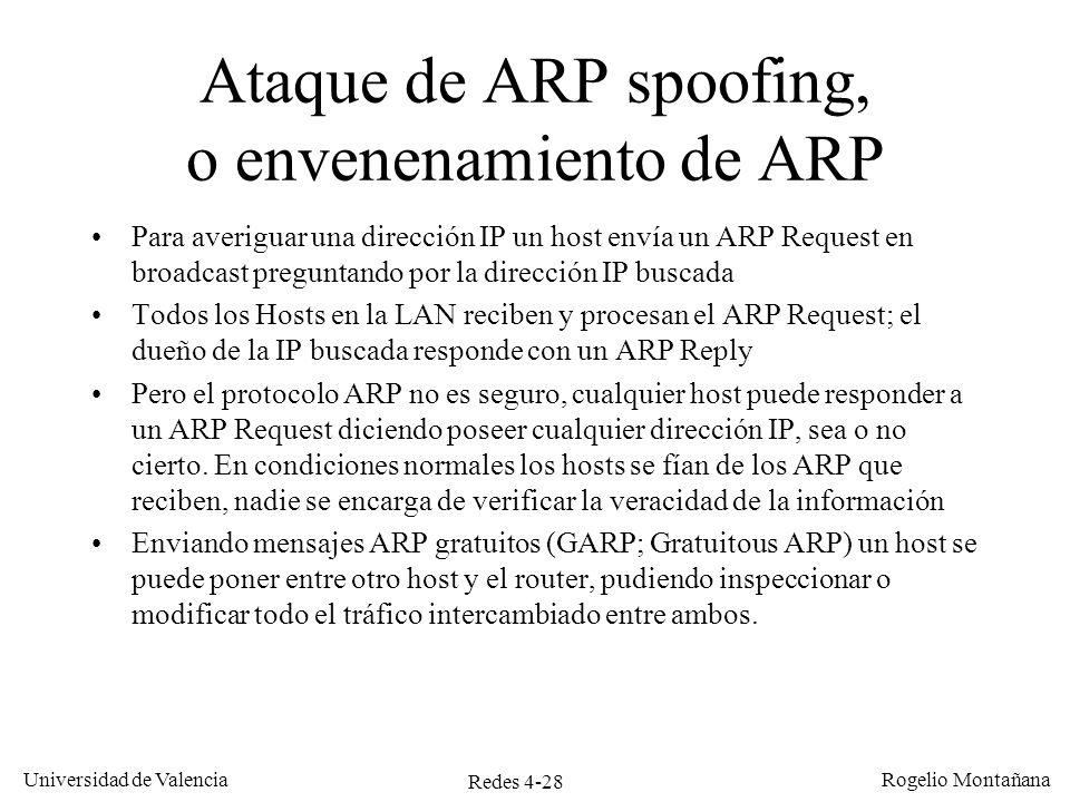 Redes 4-28 Universidad de Valencia Rogelio Montañana Ataque de ARP spoofing, o envenenamiento de ARP Para averiguar una dirección IP un host envía un