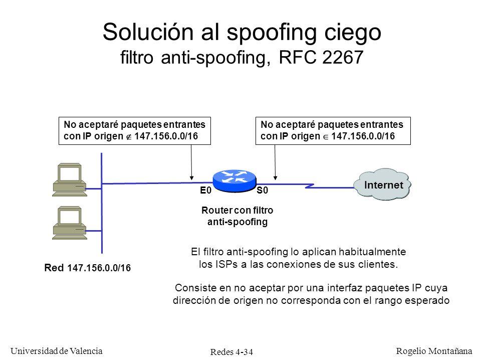 Redes 4-34 Universidad de Valencia Rogelio Montañana Solución al spoofing ciego filtro anti-spoofing, RFC 2267 El filtro anti-spoofing lo aplican habi
