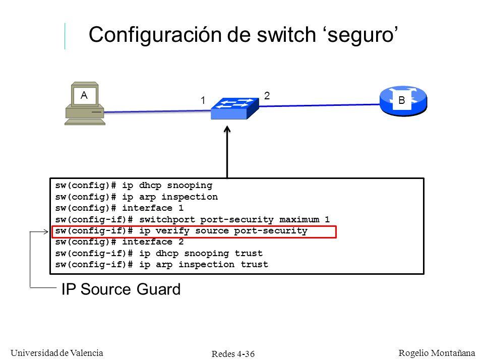 Redes 4-36 Universidad de Valencia Rogelio Montañana Configuración de switch seguro 1 2 A B sw(config)# ip dhcp snooping sw(config)# ip arp inspection