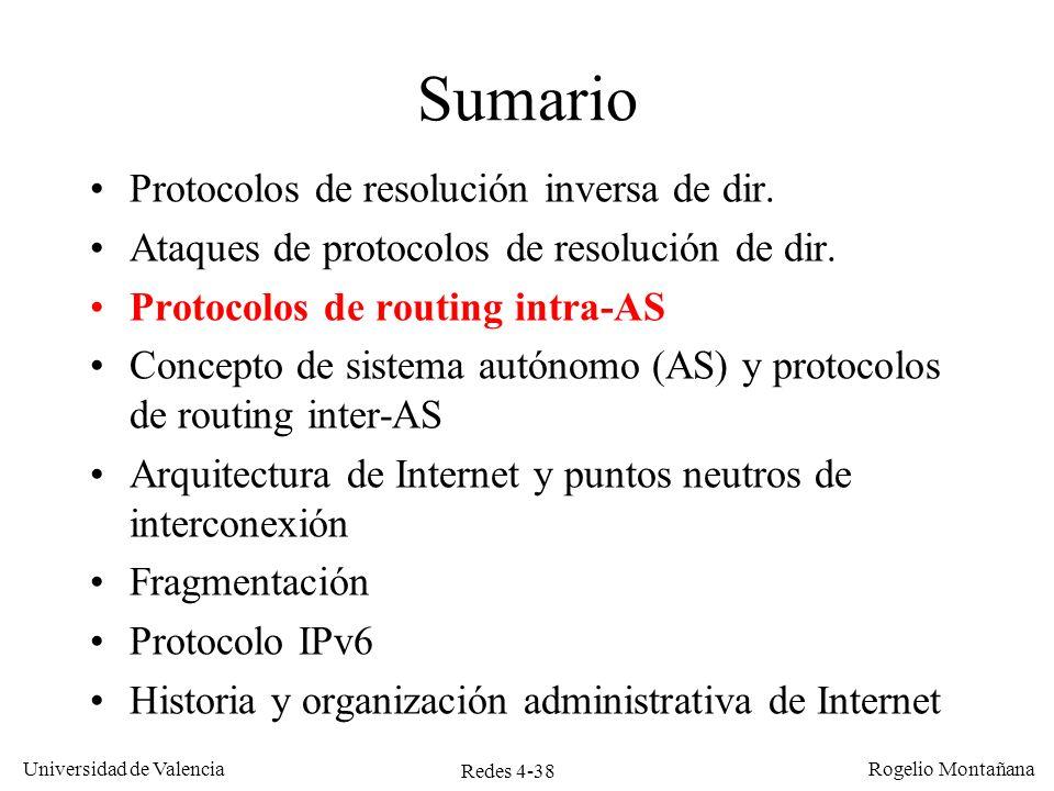 Redes 4-38 Universidad de Valencia Rogelio Montañana Sumario Protocolos de resolución inversa de dir. Ataques de protocolos de resolución de dir. Prot