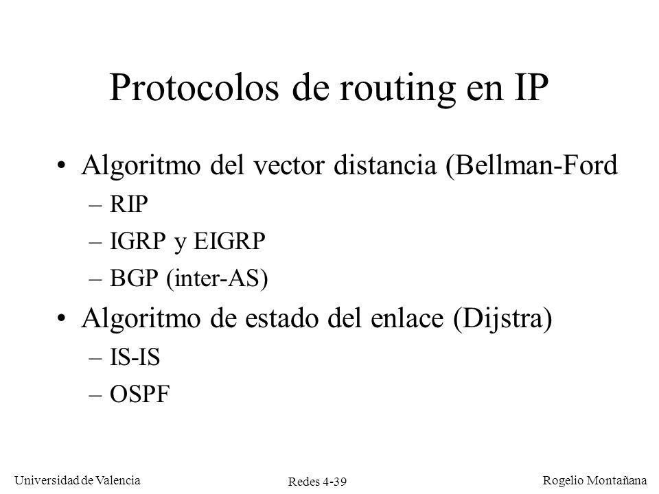 Redes 4-39 Universidad de Valencia Rogelio Montañana Protocolos de routing en IP Algoritmo del vector distancia (Bellman-Ford –RIP –IGRP y EIGRP –BGP
