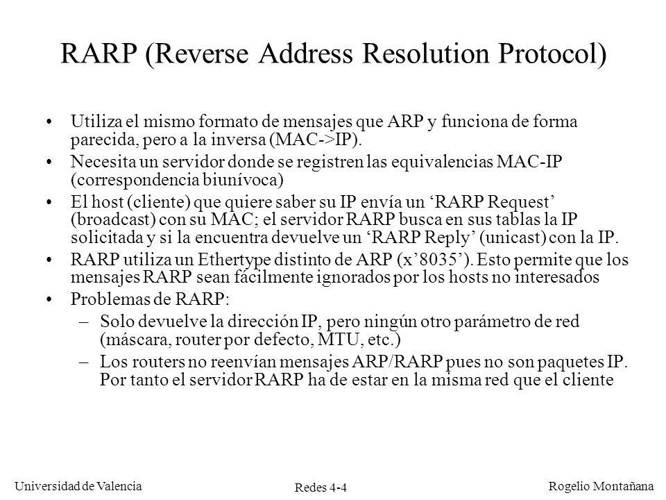 Redes 4-4 Universidad de Valencia Rogelio Montañana RARP (Reverse Address Resolution Protocol) Utiliza el mismo formato de mensajes que ARP y funciona