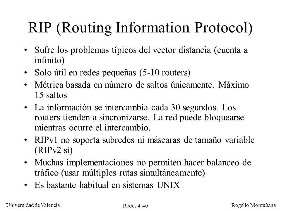Redes 4-40 Universidad de Valencia Rogelio Montañana RIP (Routing Information Protocol) Sufre los problemas típicos del vector distancia (cuenta a inf
