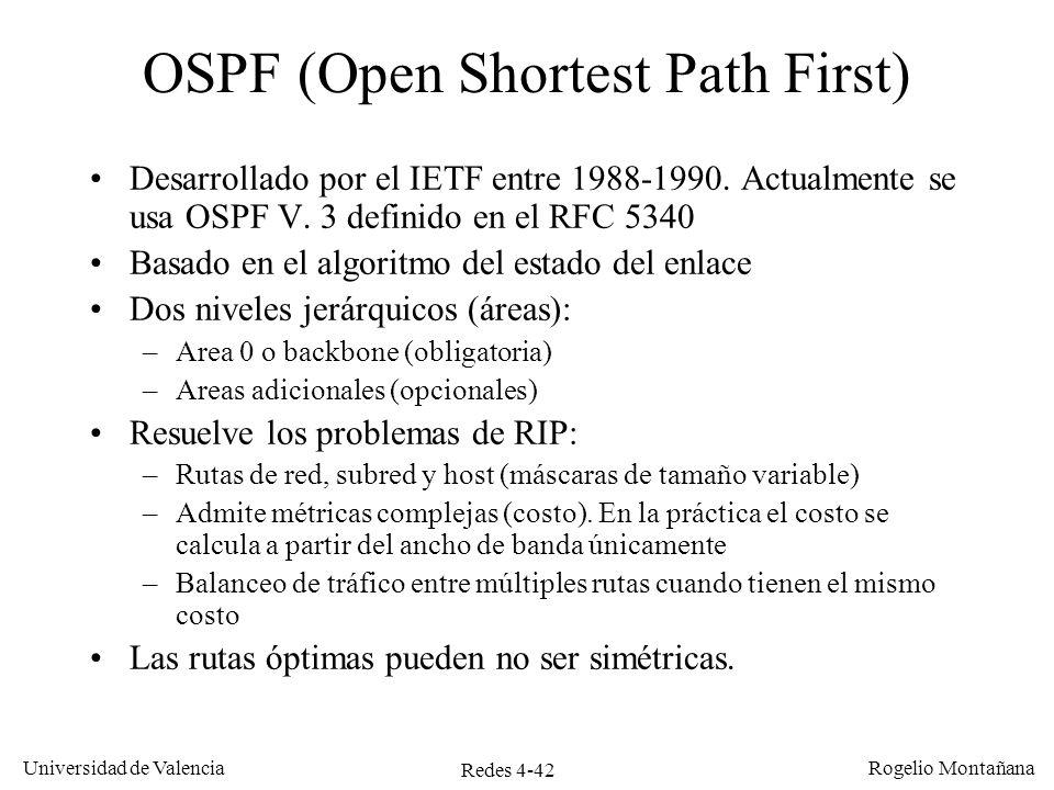 Redes 4-42 Universidad de Valencia Rogelio Montañana OSPF (Open Shortest Path First) Desarrollado por el IETF entre 1988-1990. Actualmente se usa OSPF