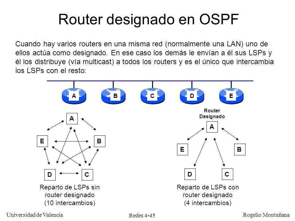 Redes 4-45 Universidad de Valencia Rogelio Montañana A E DC B A E DC B Reparto de LSPs sin router designado (10 intercambios) Reparto de LSPs con rout