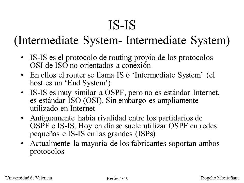 Redes 4-49 Universidad de Valencia Rogelio Montañana IS-IS (Intermediate System- Intermediate System) IS-IS es el protocolo de routing propio de los p