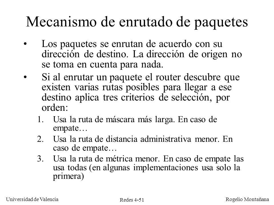 Redes 4-51 Universidad de Valencia Rogelio Montañana Mecanismo de enrutado de paquetes Los paquetes se enrutan de acuerdo con su dirección de destino.