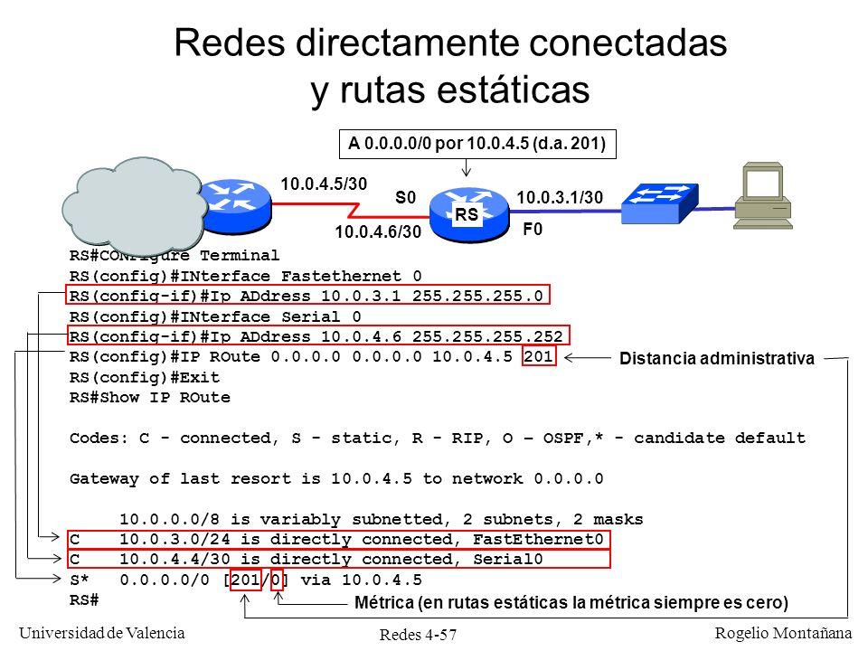 Redes 4-57 Universidad de Valencia Rogelio Montañana Redes directamente conectadas y rutas estáticas RS#CONFigure Terminal RS(config)#INterface Fastet