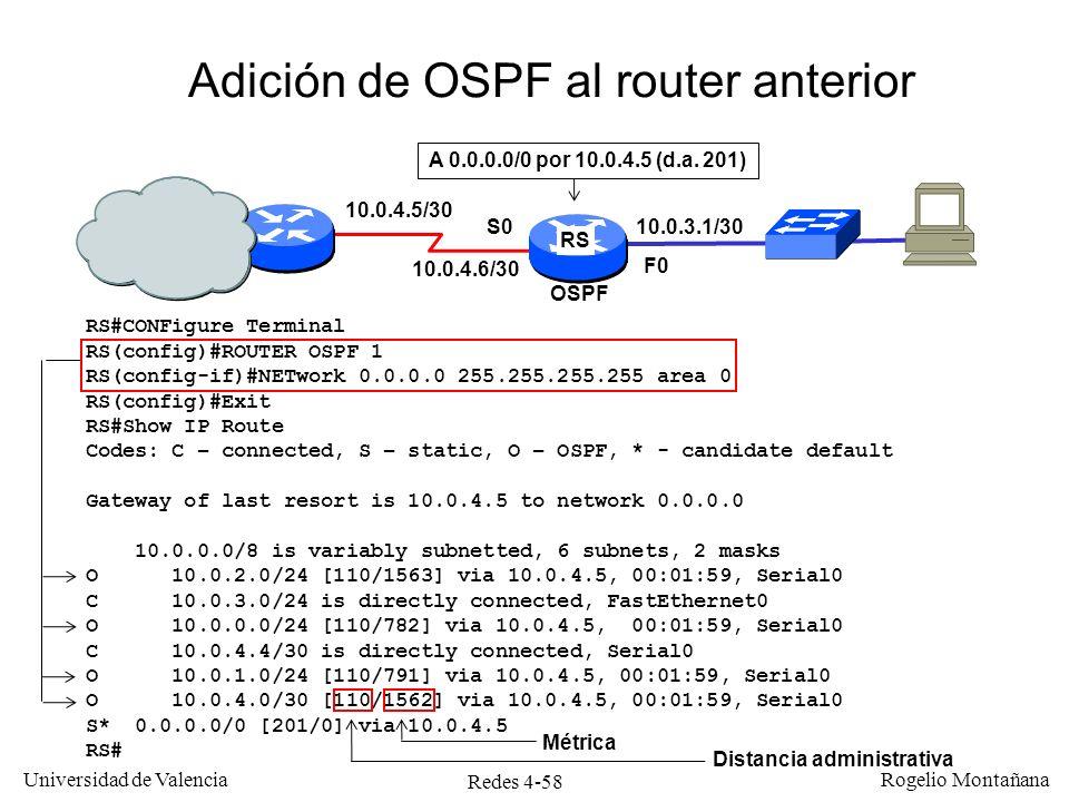 Redes 4-58 Universidad de Valencia Rogelio Montañana Adición de OSPF al router anterior RS#CONFigure Terminal RS(config)#ROUTER OSPF 1 RS(config-if)#N