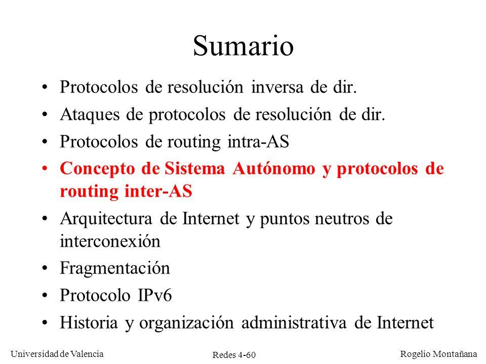 Redes 4-60 Universidad de Valencia Rogelio Montañana Sumario Protocolos de resolución inversa de dir. Ataques de protocolos de resolución de dir. Prot