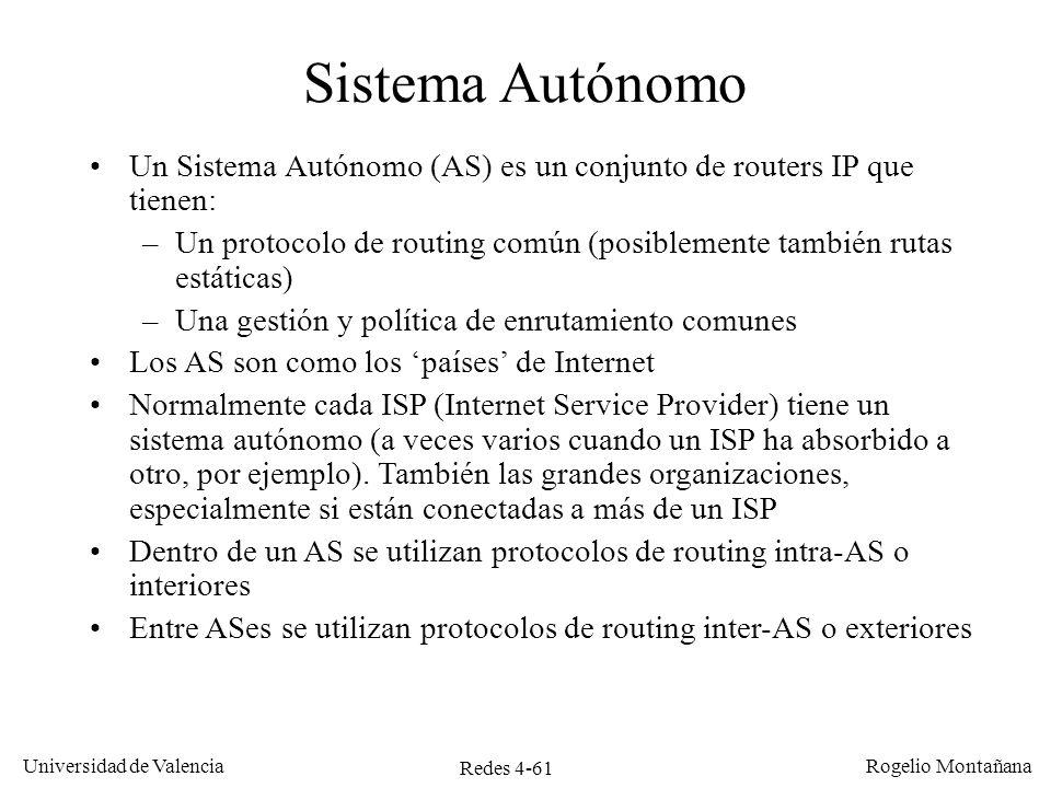 Redes 4-61 Universidad de Valencia Rogelio Montañana Sistema Autónomo Un Sistema Autónomo (AS) es un conjunto de routers IP que tienen: –Un protocolo