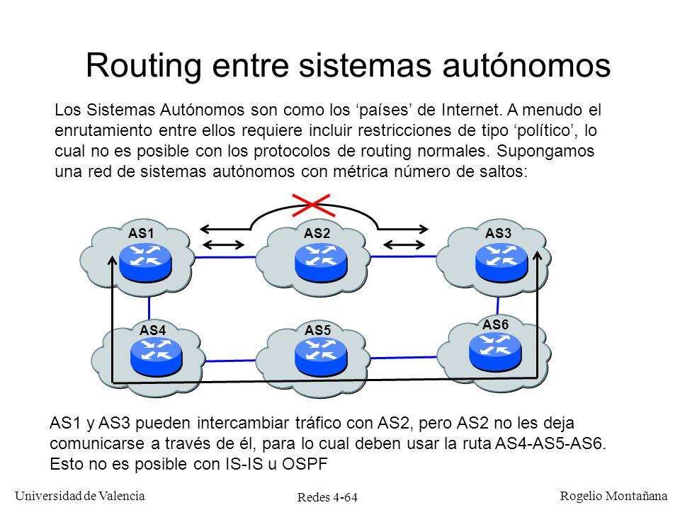 Redes 4-64 Universidad de Valencia Rogelio Montañana Routing entre sistemas autónomos AS1 y AS3 pueden intercambiar tráfico con AS2, pero AS2 no les d