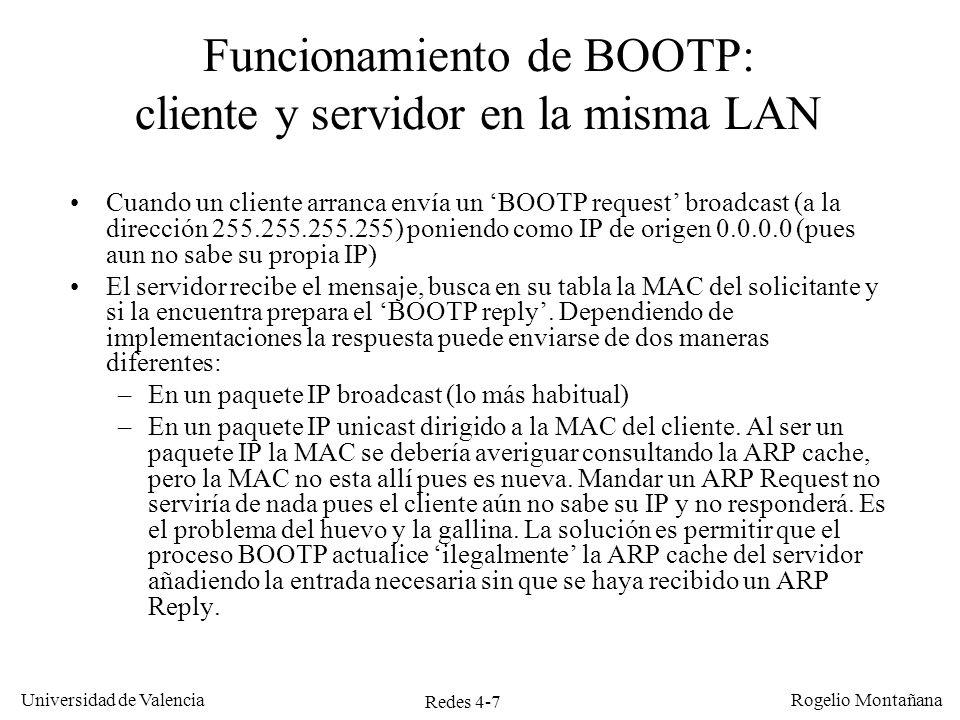 Redes 4-7 Universidad de Valencia Rogelio Montañana Funcionamiento de BOOTP: cliente y servidor en la misma LAN Cuando un cliente arranca envía un BOO
