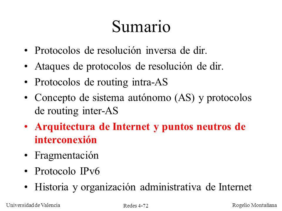 Redes 4-72 Universidad de Valencia Rogelio Montañana Sumario Protocolos de resolución inversa de dir. Ataques de protocolos de resolución de dir. Prot