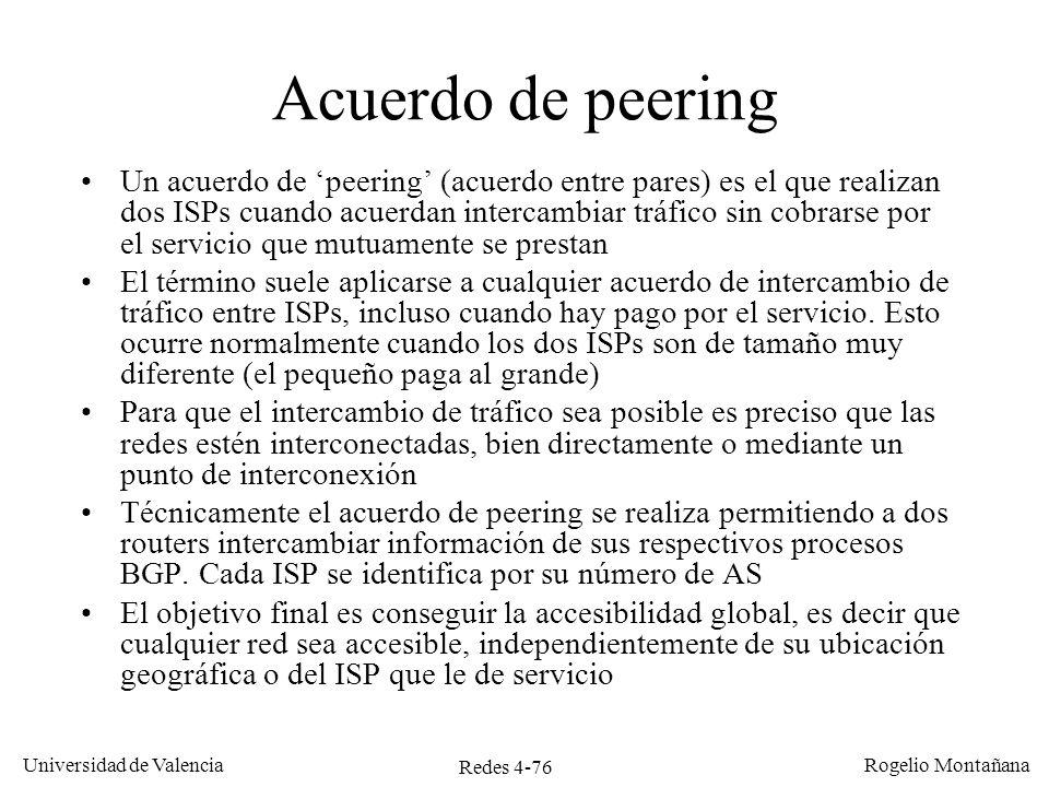 Redes 4-76 Universidad de Valencia Rogelio Montañana Acuerdo de peering Un acuerdo de peering (acuerdo entre pares) es el que realizan dos ISPs cuando