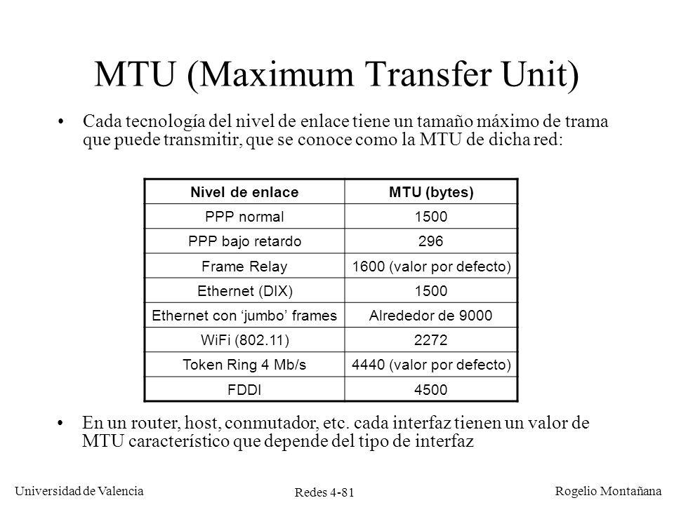 Redes 4-81 Universidad de Valencia Rogelio Montañana MTU (Maximum Transfer Unit) Cada tecnología del nivel de enlace tiene un tamaño máximo de trama q