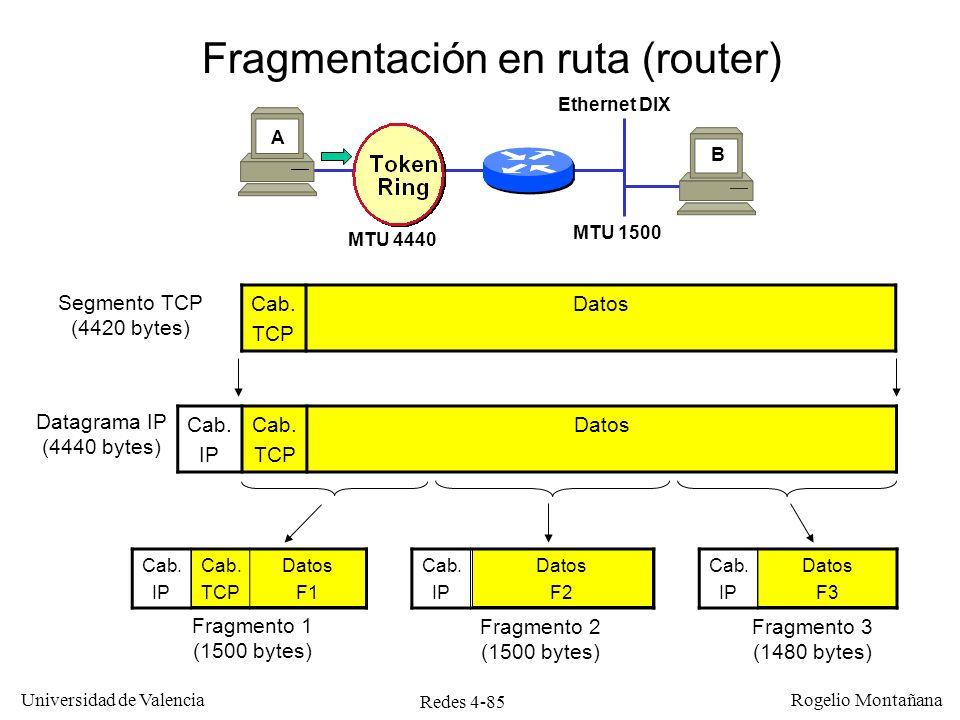 Redes 4-85 Universidad de Valencia Rogelio Montañana Fragmentación en ruta (router) A B Ethernet DIX MTU 4440 MTU 1500 Cab. TCP Datos Segmento TCP (44