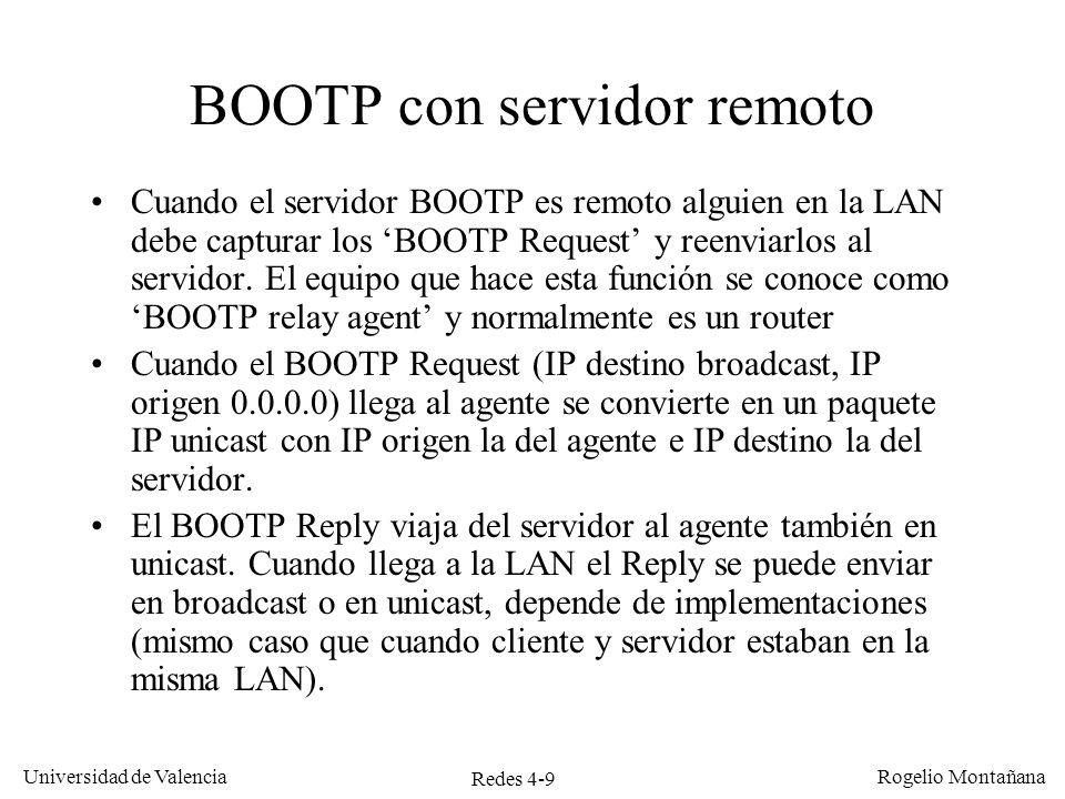 Redes 4-9 Universidad de Valencia Rogelio Montañana BOOTP con servidor remoto Cuando el servidor BOOTP es remoto alguien en la LAN debe capturar los B