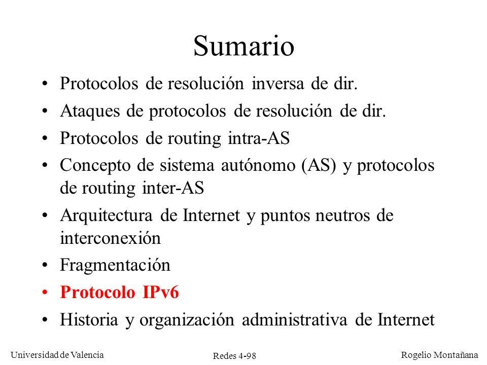 Redes 4-98 Universidad de Valencia Rogelio Montañana Sumario Protocolos de resolución inversa de dir. Ataques de protocolos de resolución de dir. Prot