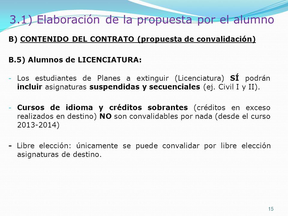 B) CONTENIDO DEL CONTRATO (propuesta de convalidación) B.5) Alumnos de LICENCIATURA: - Los estudiantes de Planes a extinguir (Licenciatura) SÍ podrán