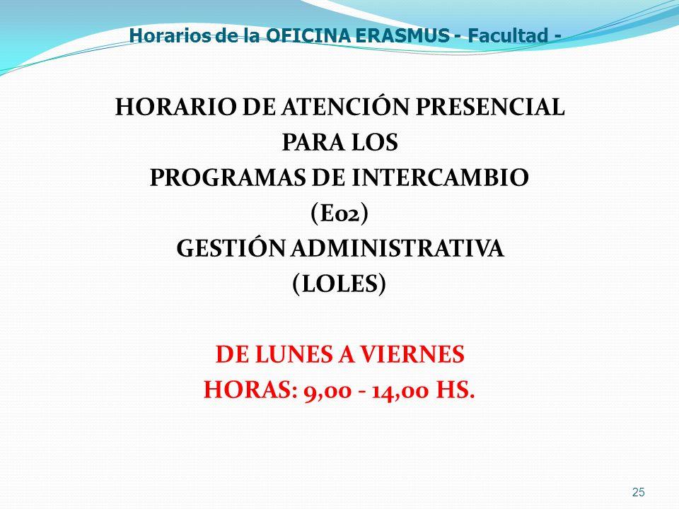 25 Horarios de la OFICINA ERASMUS - Facultad - HORARIO DE ATENCIÓN PRESENCIAL PARA LOS PROGRAMAS DE INTERCAMBIO (E02) GESTIÓN ADMINISTRATIVA (LOLES) D